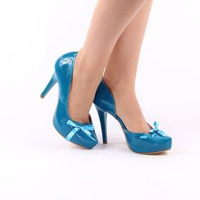 3ce5b69f21 Sapato Scarpin Verde - Scarpins para Feminino Azul-turquesa no ...