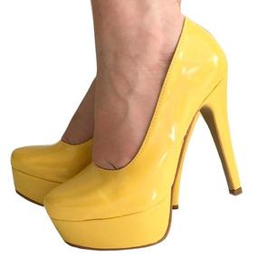 c457446f52 Sapato Meia Pata Salto 8 Cm - Scarpins para Feminino Amarelo no ...