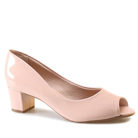 fb10545215 Sapato Beira Rio Nude Verniz Peep Toe - Sapatos para Feminino no ...