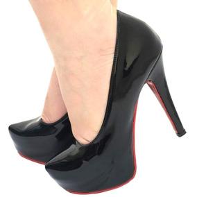 1c1429c0a5 Sapato De Salto Alto Com Sola Vermelha Feminino - Sapatos no Mercado ...