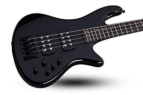schecter 2841 - guitarra baja de 4 cuerdas, negro brillante