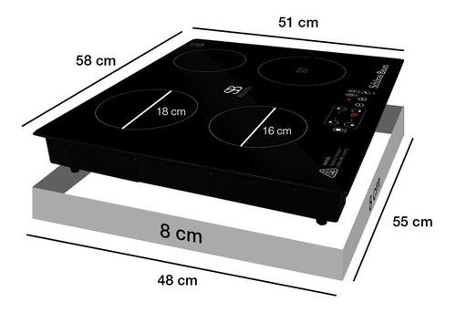 schönes bauen parrilla de inducción magnética 4 quemadores
