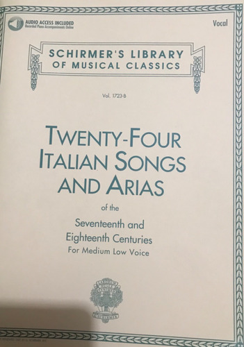 schrimer's 24 italian songs and arias medium low voice