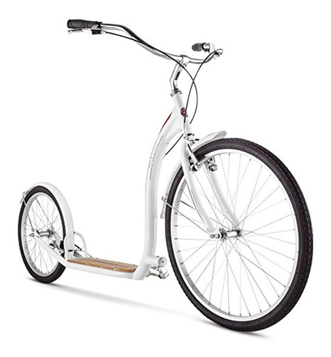schwinn adult shuffle scooter with 26'' wheels, white