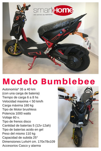 scooter eléctrico lucky lion bumblebee 1000 watts nueva 0 km