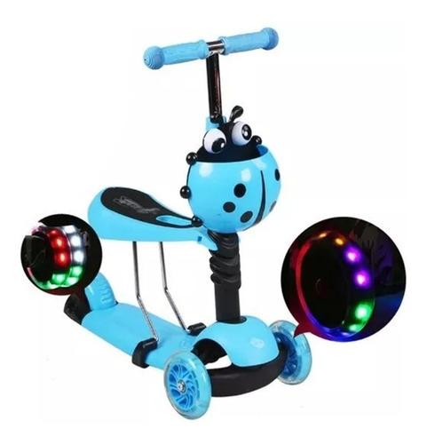 scooter monopatín 3 en 1, 3 ruedas luz led azul celeste niño