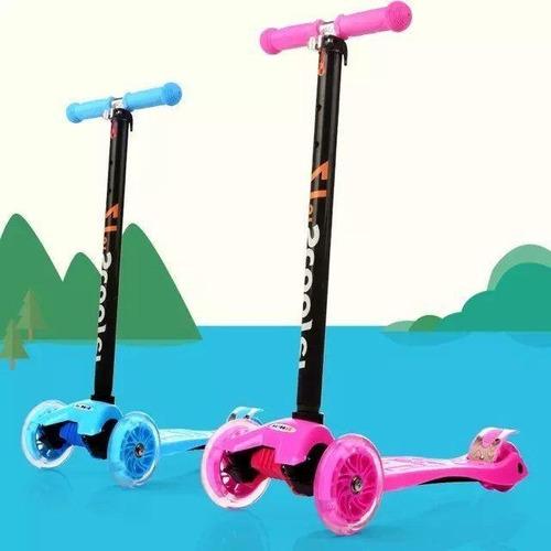 scooter monopatin ruedas con luces colores azul,rosado,verde