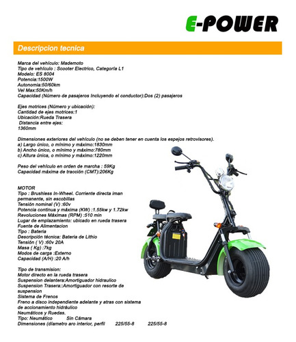 scooter moto electrico 1500w city coco para patentar e-power