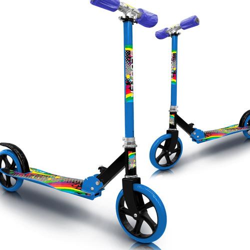 scooter patineta azul de 2 ruedas llanta grande