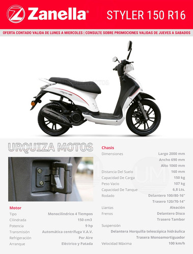 scooter zanella styler 150 r16 18 cuotas 0km urquiza motos