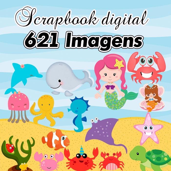 Scrapbook Digital Fundo Do Mar Clipart Completo Em Png