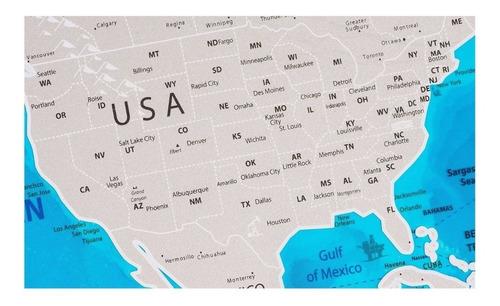 scratch map blue plastic mapa de rascar azul plastico