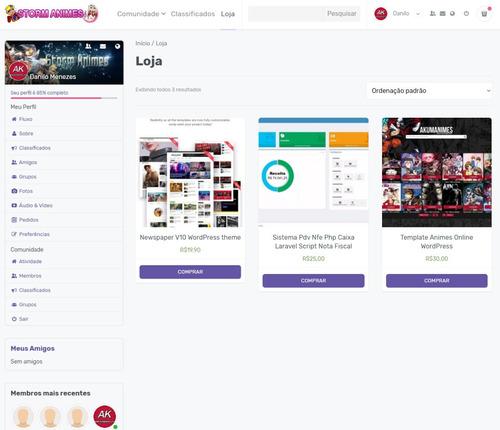 script rede social wordpress - com loja e classificados