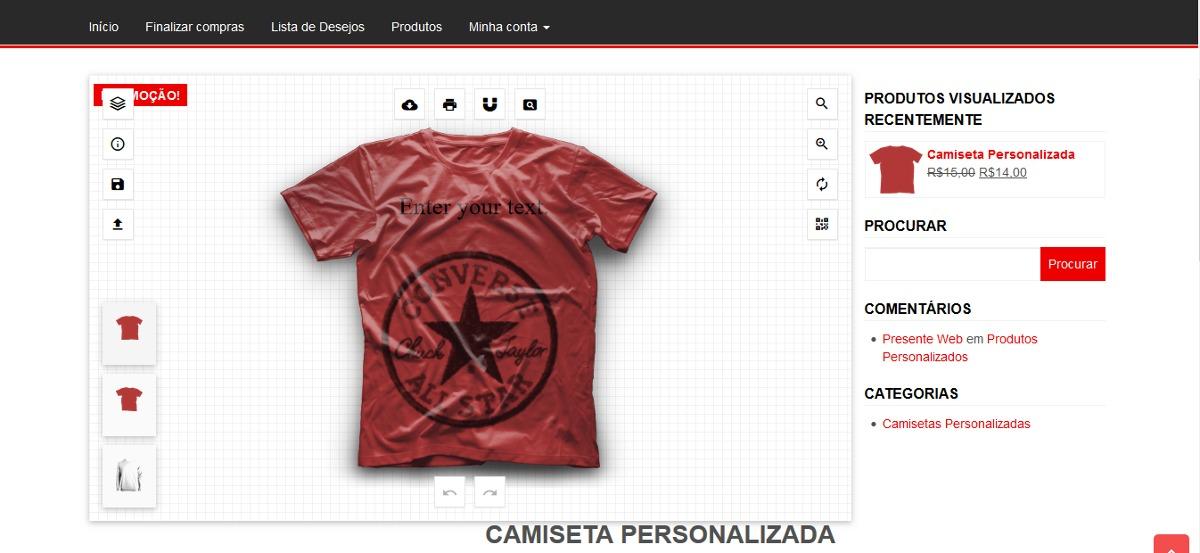 149abe1ab Script + Site Completo Criar (personalizar) Camisetas Online - R  15 ...