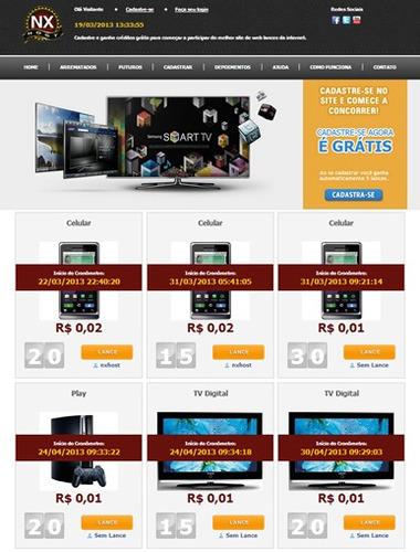 script site leilão centavos profissional. template premium