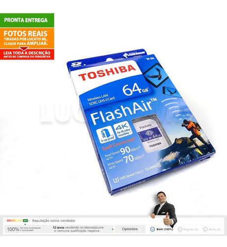 sd wifi 64gb memória flashair toshiba w04 classe 10 | np