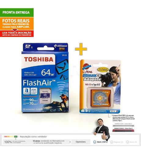 sd wifi flashair 64gb + adaptador compact flash ii p/ sd  np