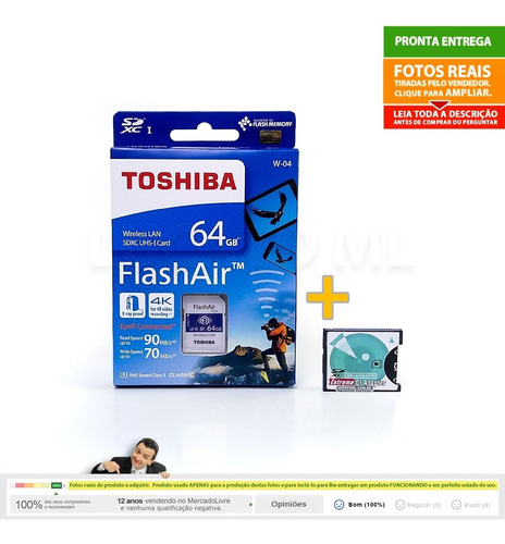 sd wifi flashair 64gb w04 + adaptador sd p/ compact flash np