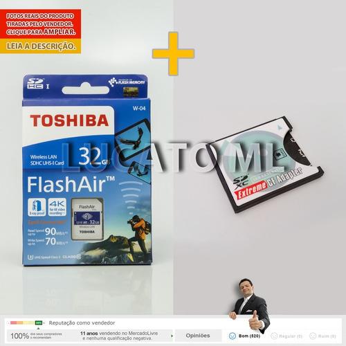 sd wifi toshiba 32gb w04 + adaptador sd/cf +frete grátis 12x