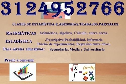 se hacen asesorías en trabajos de estadística y matemáticas