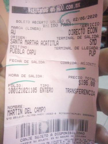 se vende boleto de autobus a puebla vara 5510925134 a tratar
