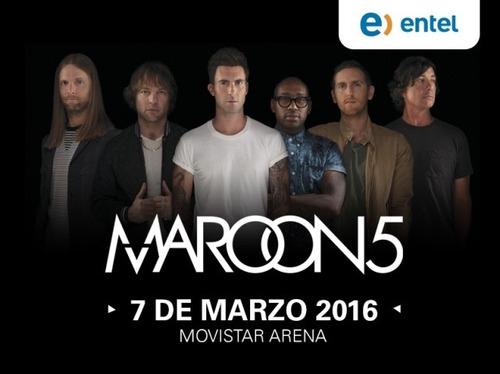 se vende dos entradas concierto maroon 5 cancha premium