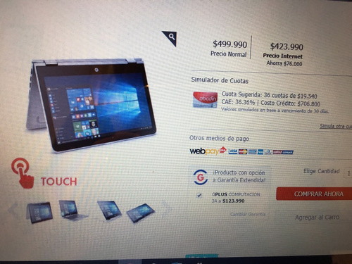se vende notebook hp pvilion convertible