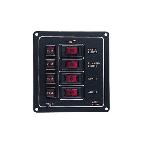 sea dog 422010-1 panel vertical de 4 interruptores de alumin