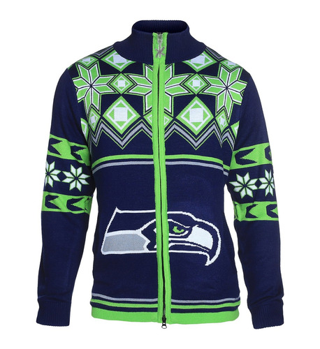seattle seahawks split logo ugly suéter chaqueta extra grand
