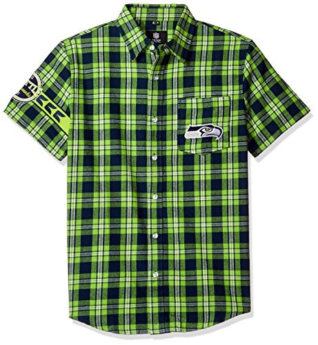 seattle seahawks wordmark basic camisa de franela - manga co