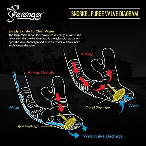 seavenger diving dry top snorkel set con aleta trek, máscara