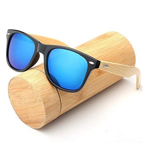 86fb1a2b6a Sebami Gafas De Sol De Madera De Bambú Con Azul Lente Polar ...