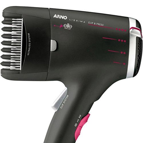 secador arno beauty lissima clip & press preto 220v saldão