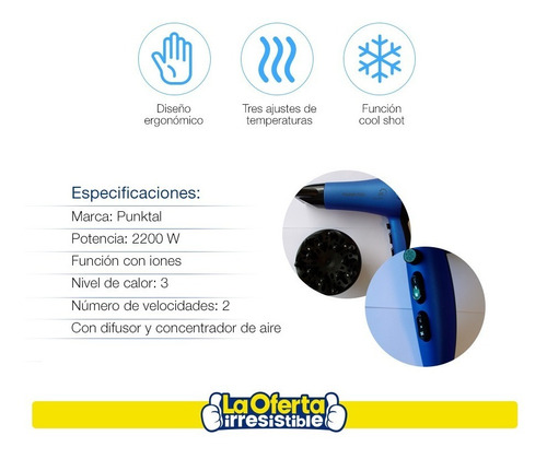 secador de cabello punktal iónico profesional 2200w loi