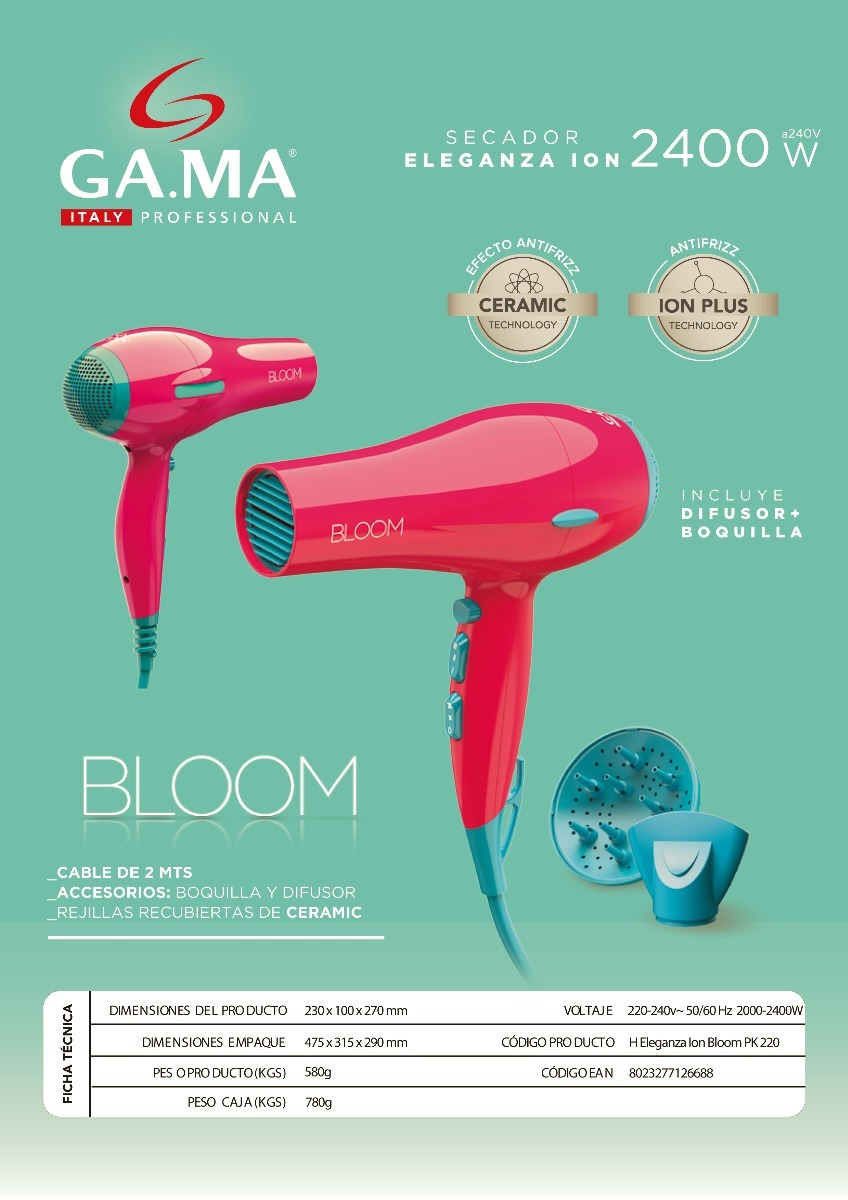 secador de pelo gama eleganza ion bloom rosa 2400w. Cargando zoom. 87c61253d54f