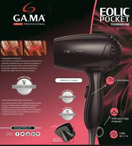 secador de pelo gama eolic pocket 1200w tourmaline pequeño