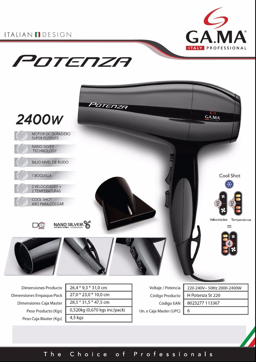 secador de pelo gama potenza 2400w calor y frio con boquilla. Cargando zoom. 66220a197da0