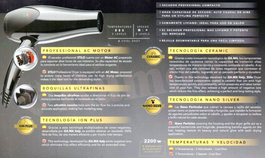 secador de pelo profesional gama salon stilo ion plus 2200w. Cargando zoom. 41a5e3aecc77