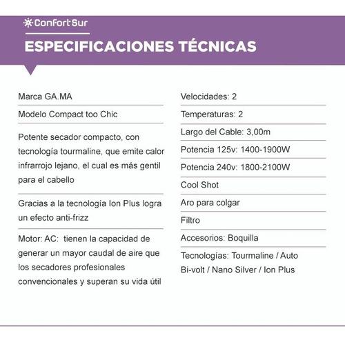 secador gama compact too chic tourmaline bivolt **10
