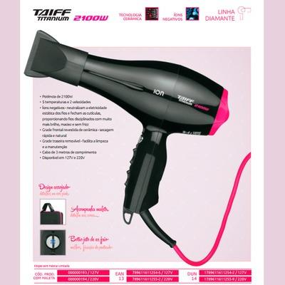 Secador Taiff Titanium Colors 2100w 127v Pink - R  449 fde38bf19d8d