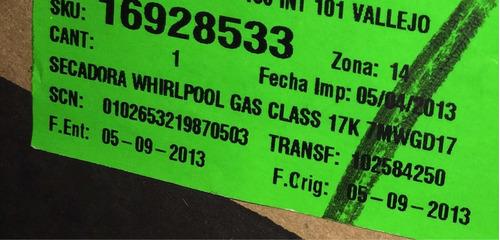 secadora whirlpool 17 kg de gas nueva