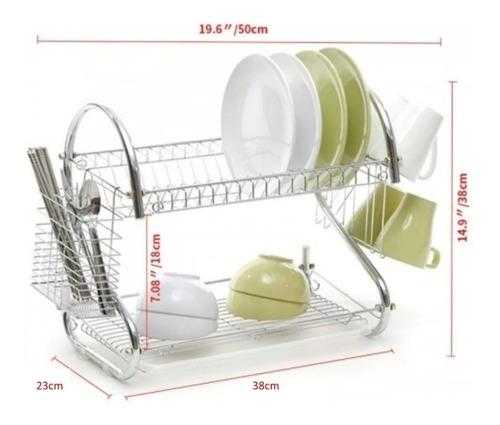 secaplato escurridor escurre plato cromado 2 pisos c bandeja