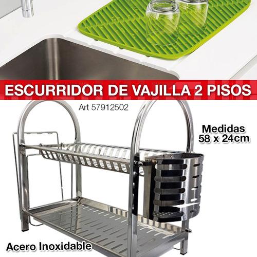 secaplatos escurridor 2 pisos cubiertero acero 16 platos