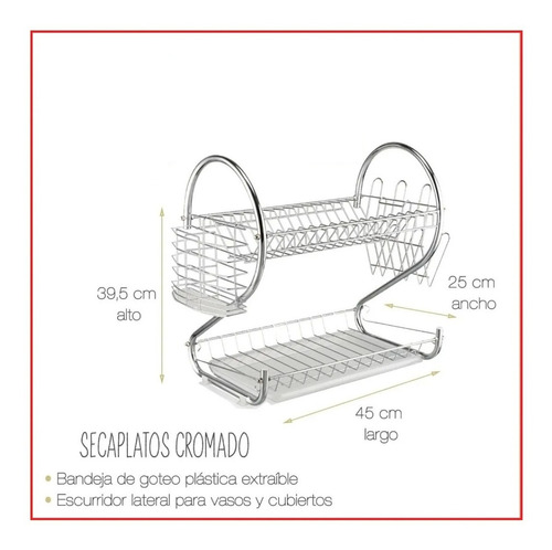 secaplatos escurridor de platos cromado doble piso con bande