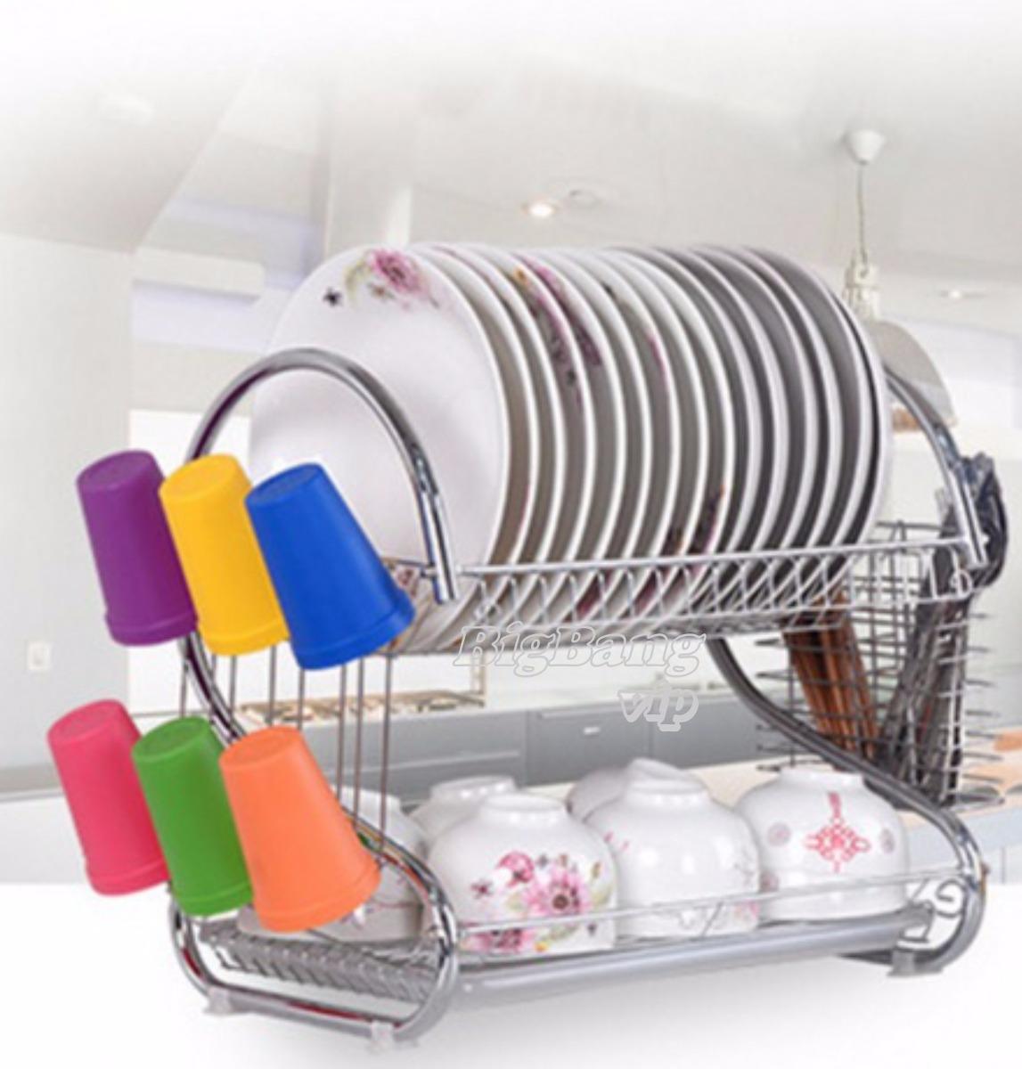 secaplatos escurridor platos cromado 2 pisos bandeja cubiert. Cargando zoom. a69cfd5eb040