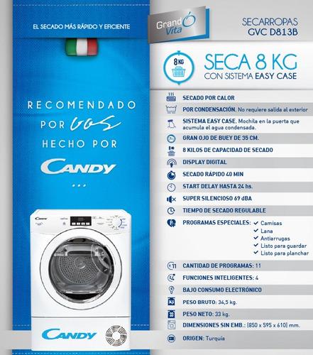 secarropas candy gvc d813b-12 condensación 8 kg easy case