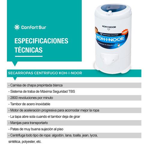 secarropas centrífugo kohinoor 2800 rpm b665 6.5kg **5