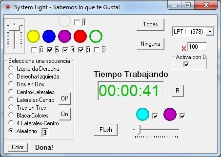 secuenciador o interface puerto paralelo 6 ch salida 220v dj