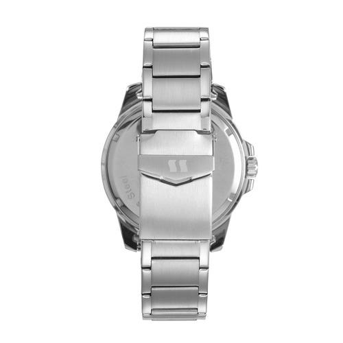 seculus relógio long life com calendário aço prata