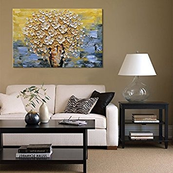 Seekland Hand Painted Textured Flower Canvas Wall Art Floral